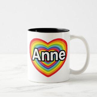 I love Anne, rainbow heart Two-Tone Coffee Mug