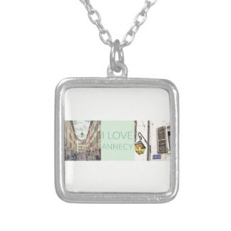 """I Love Annecy"" Photo Banner Silver Plated Necklace"