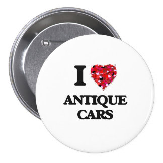 I Love Antique Cars 3 Inch Round Button