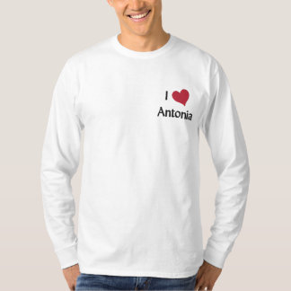 I Love Antonia Embroidered Long Sleeve T-Shirt