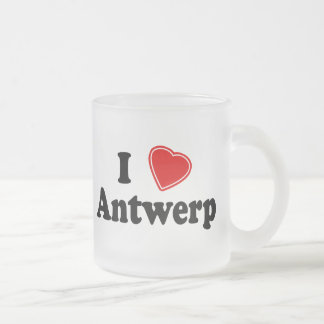 I Love Antwerp Frosted Glass Coffee Mug