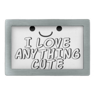 I Love Anything Cute Rectangular Belt Buckles