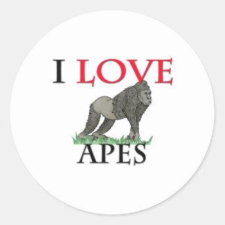 I Love Apes Classic Round Sticker