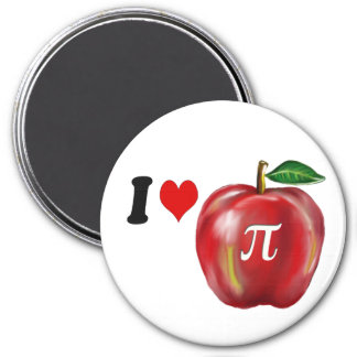 I Love Apple Pie and Pi Red Green and Gold Heart Magnet