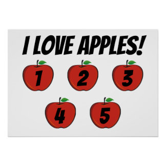 I Love Apples (counting) Poster