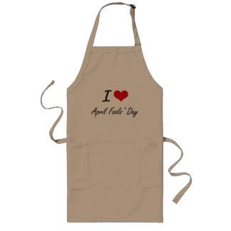 I Love April Fools' Day Artistic Design Long Apron