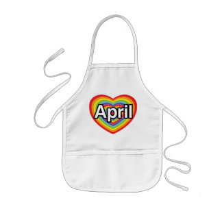 I love April, rainbow heart Kids Apron