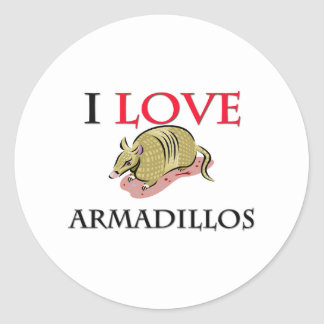 I Love Armadillos Classic Round Sticker