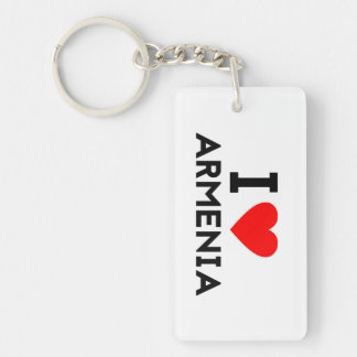 i love Armenia country nation heart symbol text Keychain