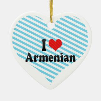 I Love Armenian Ceramic Heart Ornament
