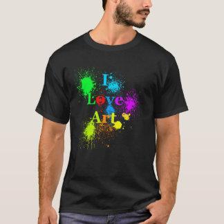I Love Art   glowing color paint splatter & drips T-Shirt