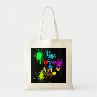 I Love Art tote bag | paint splatter & neon drips