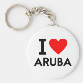 i love Aruba country nation heart symbol text Keychain