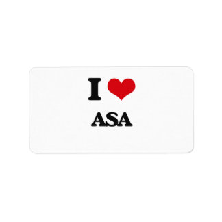 I Love Asa Address Label