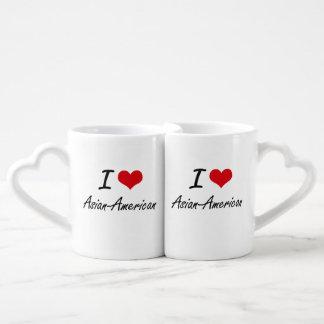 I Love Asian-American Artistic Design Couple Mugs