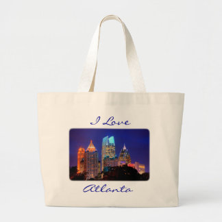 I Love Atlanta Skyline Canvas Budget Totebag Large Tote Bag