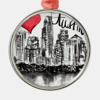 I love Austin Metal Ornament
