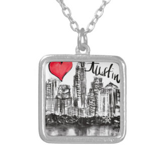I love Austin Silver Plated Necklace