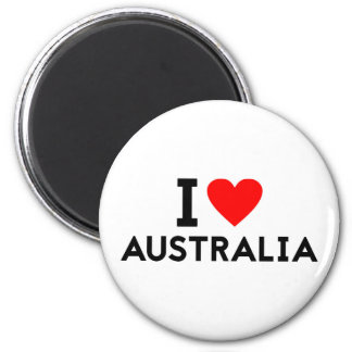 i love Australia country nation heart symbol text Magnet