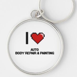 I Love Auto Body Repair & Painting Digital Design Silver-Colored Round Keychain