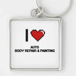 I Love Auto Body Repair & Painting Digital Design Silver-Colored Square Keychain