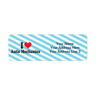 I Love Auto Mechanics Return Address Labels