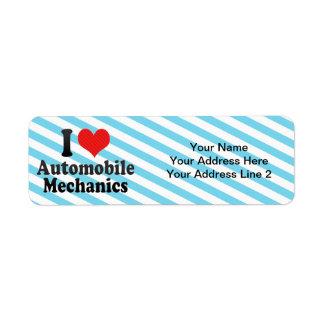 I Love Automobile Mechanics Custom Return Address Labels