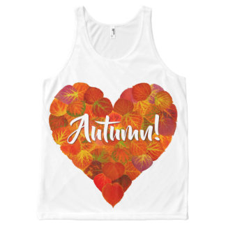 I Love Autumn, Bold—Red Aspen Leaf Heart 1 All-Over-Print Tank Top