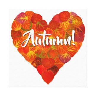 I Love Autumn, Bold—Red Aspen Leaf Heart 1 Canvas Print