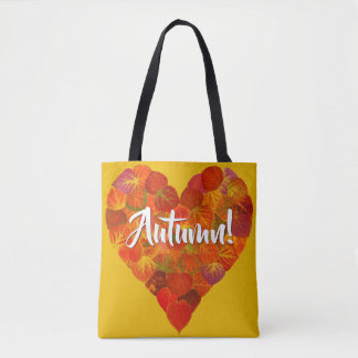 I Love Autumn, Bold—Red Aspen Leaf Heart 1 Tote Bag