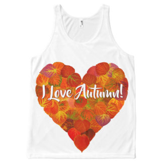 I Love Autumn!—Red Aspen Leaf Heart 1 All-Over-Print Tank Top
