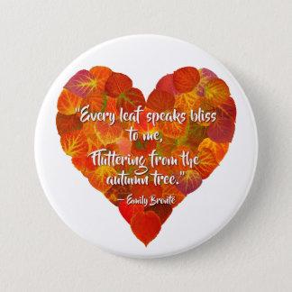 I Love Autumn—Red Aspen Leaf Heart 1, Brontë Quote 3 Inch Round Button