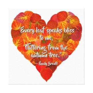 I Love Autumn—Red Aspen Leaf Heart 1, Brontë Quote Canvas Print