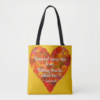 I Love Autumn—Red Aspen Leaf Heart 1, Brontë Quote Tote Bag