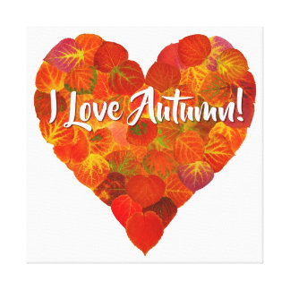 I Love Autumn!—Red Aspen Leaf Heart 1 Canvas Print