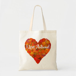 I Love Autumn!—Red Aspen Leaf Heart 1 Tote Bag
