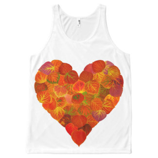 I Love Autumn, Subtle—Red Aspen Leaf Heart 1 All-Over-Print Tank Top