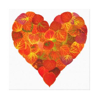 I Love Autumn, Subtle—Red Aspen Leaf Heart 1 Canvas Print