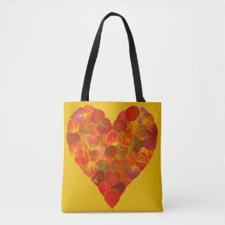 I Love Autumn, Subtle—Red Aspen Leaf Heart 1 Tote Bag