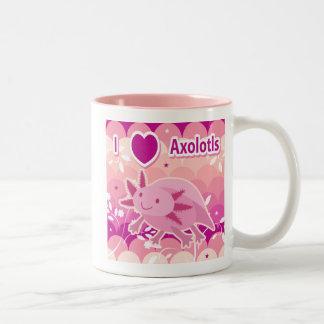 """I Love Axolotls"" Pink Axolotl Design Two-Tone Coffee Mug"