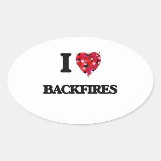 I Love Backfires Oval Sticker