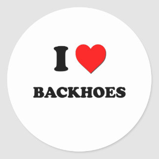 I Love Backhoes Classic Round Sticker