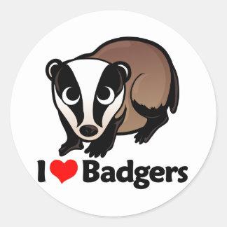 I Love Badgers Round Sticker