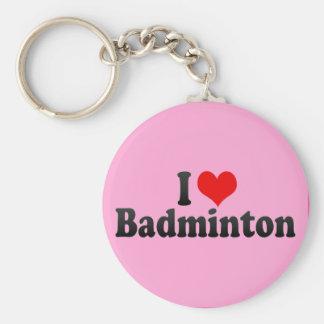 I Love Badminton Basic Round Button Keychain