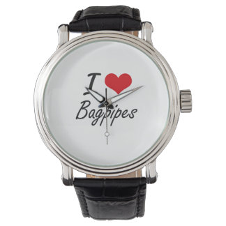 I Love Bagpipes Artistic Design Watch