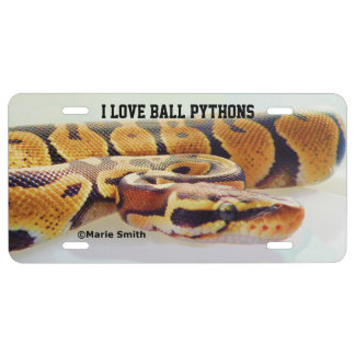 I LOVE BALL PYTHONS LICENSE PLATE