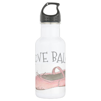 I Love Ballet Ballerina Pink Slipper Dance Teacher 532 Ml Water Bottle