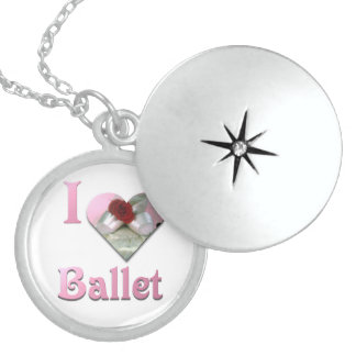 I Love Ballet with red rose Sterling Silver Necklace