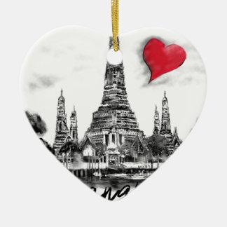 I love Bangkok Ceramic Heart Ornament