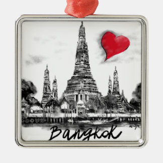 I love Bangkok Silver-Colored Square Ornament